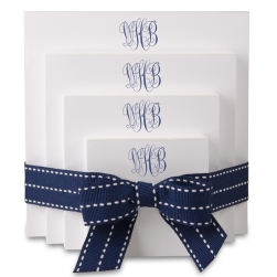 Delavan Monogram 4-Tablet Set - White with Navy Blue Stitched Ribbon