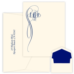Fiona Monogram Apex Card - Raised Ink