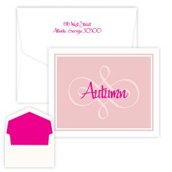 Pink Scroll Delicate Folding Note - Digital Print