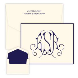 Victoria Monogram Oversized Note - Raised Ink