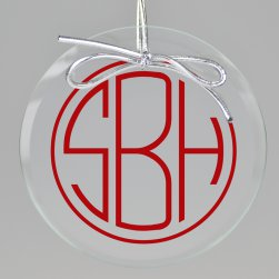 Terrace Monogram Printed Ornament - Circle