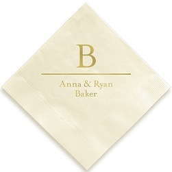 Initial and Name Napkin - Foil-Pressed