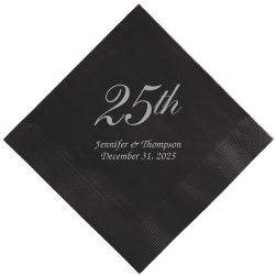 25th Wedding Anniversary Napkin - Foil-Pressed