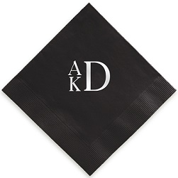 Stacked Monogram Napkin - Foil-Pressed