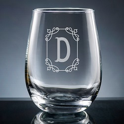 Stately Initial Stemless Wine Glass
