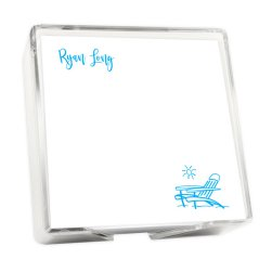 Tropical Breeze Memo Square - White with holder