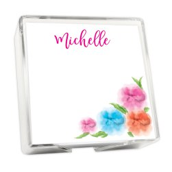 Spring Bouquet Memo Square - White with holder