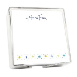 Starry Night Memo Square - White with holder