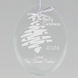 Merry Christmas Tree Keepsake Ornament - Oval