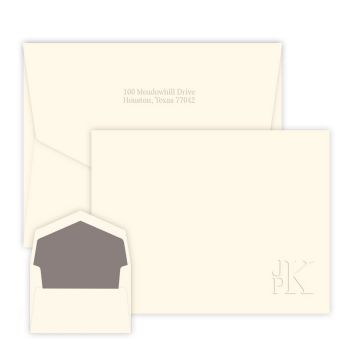 Lower Right Stacked Monogram Card - Embossed