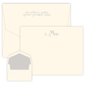 Sand Monogram Apex Card - Raised Ink