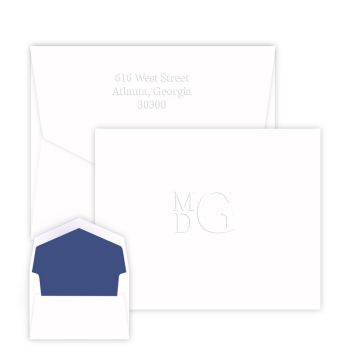 Stacked Monogram Note - Embossed