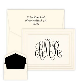 Classic Frame Monogram Note - Raised Ink