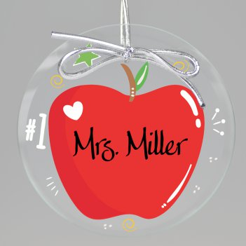 Apple A Day Teacher Keepsake Printed Ornament
