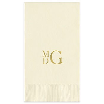 Stacked Monogram Guest Towel - Foil-Pressed
