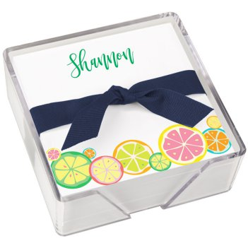 Botanical Fruit Memo Square - White with holder