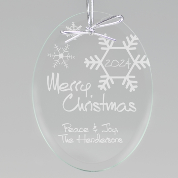 Merry Christmas Snowflake Keepsake Ornament - Oval