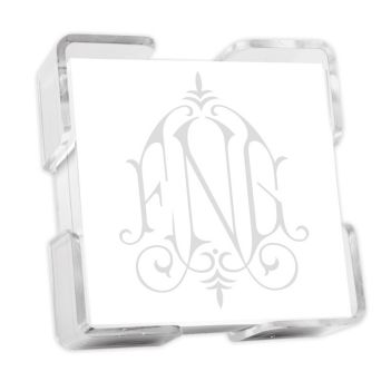 Henley Watercolor Monogram Petite Square - White with holder