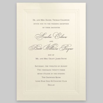 Yorkshire Wedding Invitation Card - Raised Ink