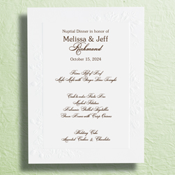 Custom Printed Frame Of Roses Wedding Reception Menu Cards